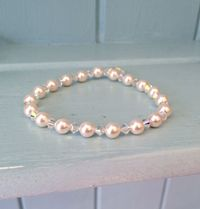 Swarovski Elements elastic Bracelet, Bead Jewellery Making Kit (no tools required) White pearls and Crystal AB